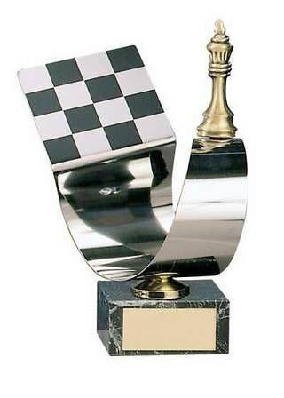 Trofeo ajedrez pieza y tablero