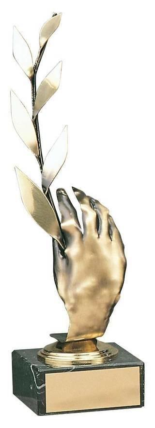 Trofeo alegórico mano y laurel