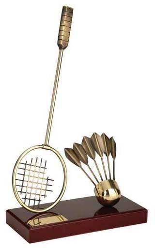 Trofeo bádminton raqueta y volante