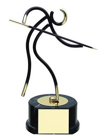 Trofeo billar jugador negro y dorado