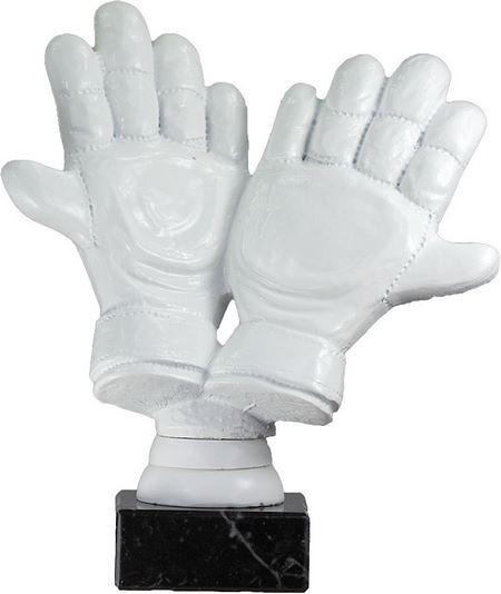 Trofeo blanco guantes de futbol