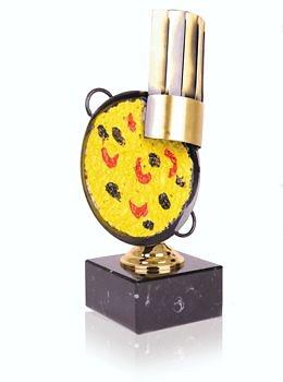 Trofeo cocina paella con gorro en metal