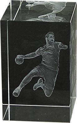 Trofeo cubo de cristal 3D balonmano Lozoya