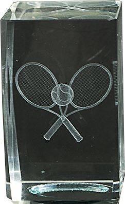 Trofeo cubo de cristal grabacion 3D raquetas de tenis