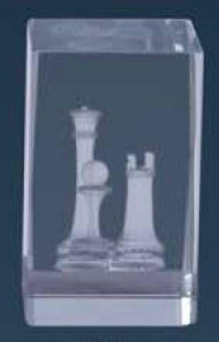 Trofeo de Ajedrez Lozoya cubo de cristal
