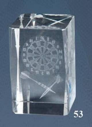 Trofeo de Dardos, cubo de cristal Lozoya