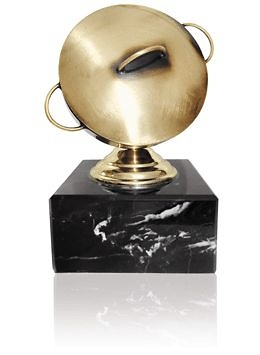 Trofeo de metal para cocina tapa de cazuela