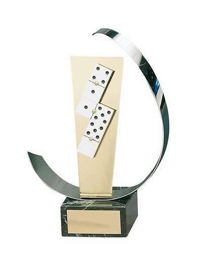 Trofeo dominó blancas fichas