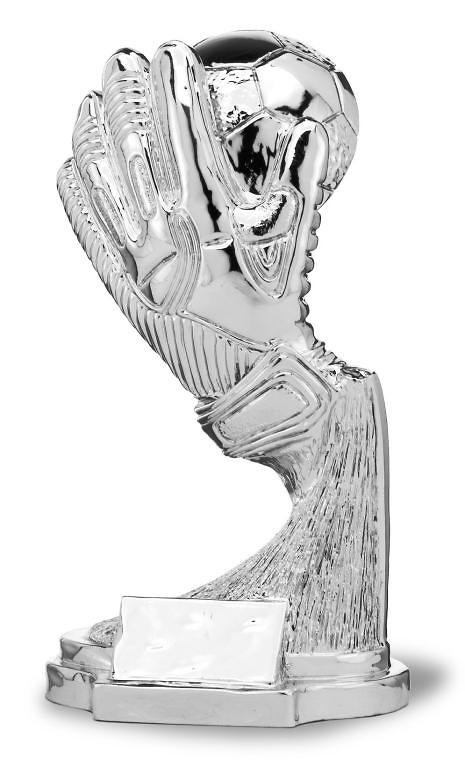 Trofeo en resina guante portero y pelota plateada losst