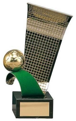 Trofeo fútbol balón, campo y portería