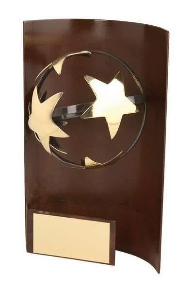Trofeo fútbol rectangular aplique balón estrella