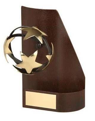 Trofeo fútbol trapecio aplique balón estrella
