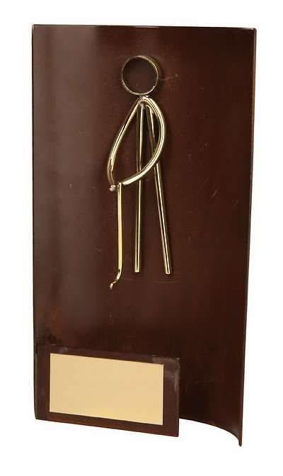 Trofeo golf rectangular aplique golfista