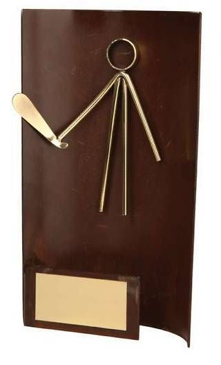 Trofeo golf rectangular aplique golfista