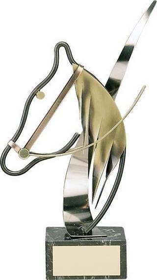 Trofeo hípica dorado caballo