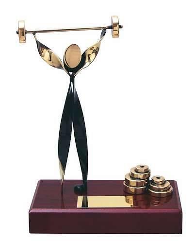 Trofeo halterofilia peana rectangular madera