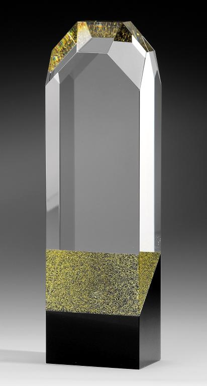 Trofeo icono cristal optico negro oro Lusap
