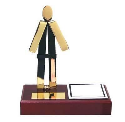 Trofeo judo latón peana madera