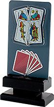 Trofeo detalle mano con Cartas en resina.