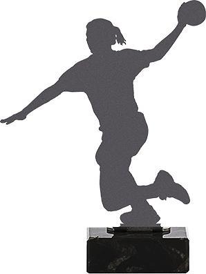 Trofeo metal balonmano silueteado western