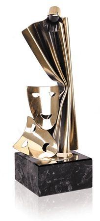 Trofeo metal teatro mascaras telon y foco