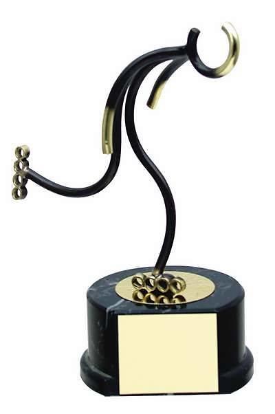 Trofeo patinaje en línea patinador negro y dorado