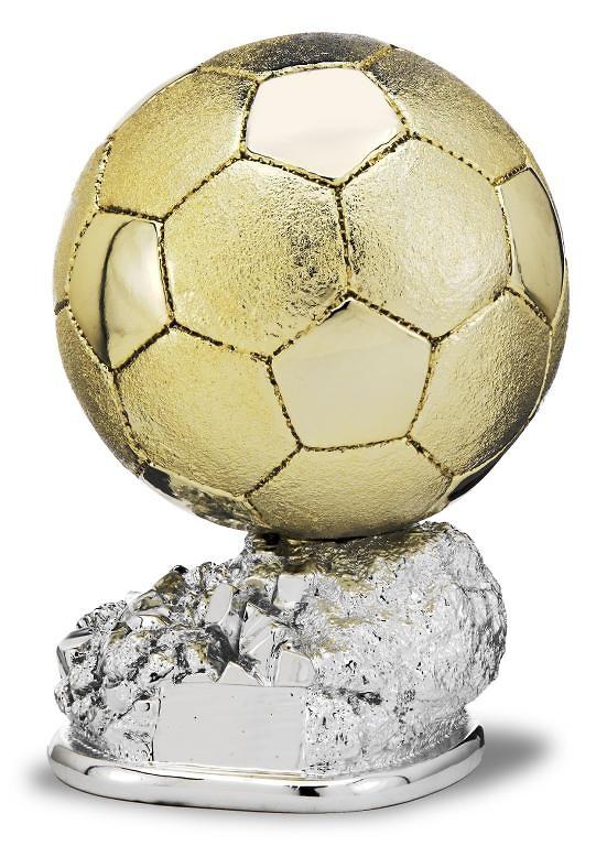 Trofeo pelota de futbol acabado oro y base plateada