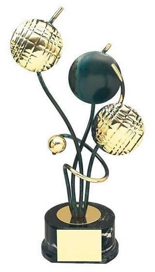 Trofeo petanca bolas y boliche dorados y negros