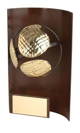 Trofeo petanca rectangular aplique bola