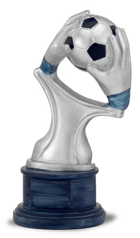 Trofeo resina portero de futbol manos y balon pasmer