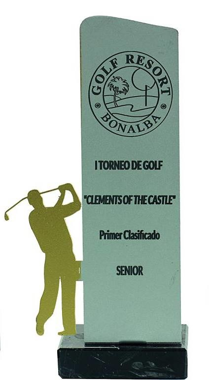 Trofeo silueta metal de golf
