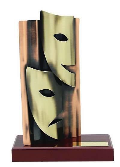 Trofeo teatro foco y mascaras
