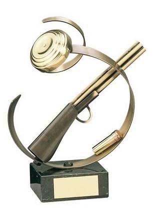 Trofeo tiro escopeta plato carucho, escopeta y plato