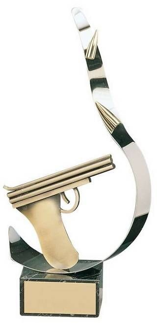 Trofeo tiro pistola latón pistola