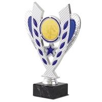 Copa Chiapas en plateado y azul con peana de marmol
