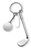 Llavero de palo de golf plateado