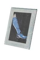 Marco plateado rectangular efecto rugoso modelo Charo