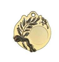 Medalla deportiva de 50 mm Ø bicolor con alojamiento para disco deportivo