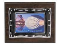 Placa conmemorativa rectangular bicolor greca ancha