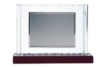Placa de Homenaje rectangular soporte columnas de cristal
