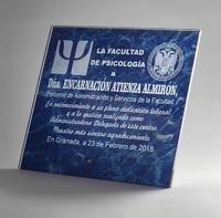 Placa de cristal optico marmoleada soportes metalicos azul