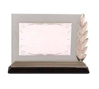 Placa de homenaje Rectangular estampada soporte cristal con espiga
