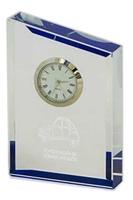 Reloj de Cristal rectangular fondeado en azul Topia