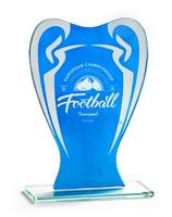 Trofeo Abasolo en cristal mate y azul