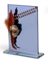 Trofeo Azul de Cristal con mascara de Carnaval modelo Nopala