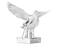 Trofeo Paloma de resina plateado
