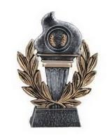 Trofeo antorcha olimpica en acabados plata y oro portadiscos