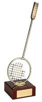 Trofeo bádminton raqueta dorada