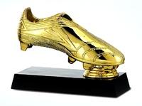 Trofeo bota de futbol en resina oro, plata o bronce misters