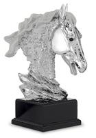 Trofeo cabeza de Caballo en resina plateada modelo Taniche